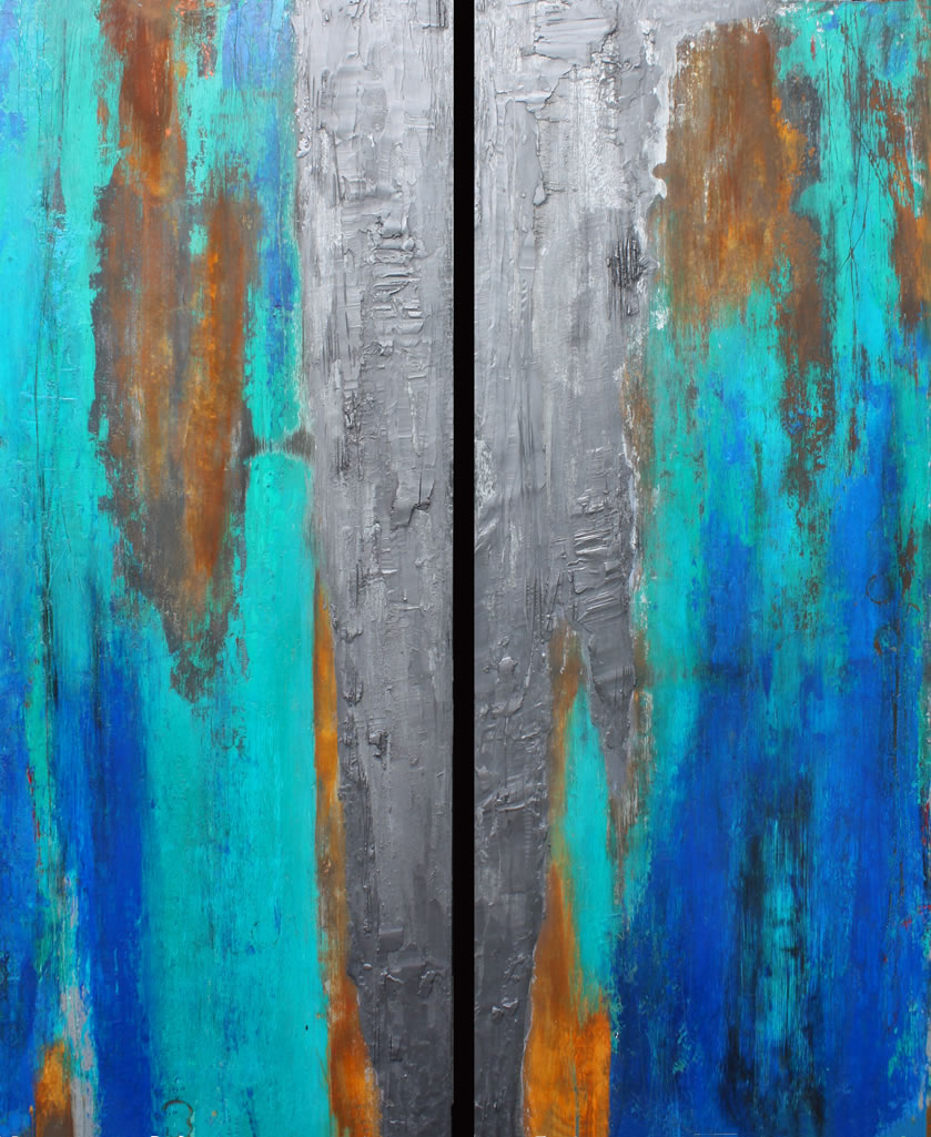 Willie Little Abstract - Teal Ridge Diptych